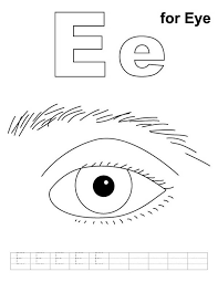 E Is For Eyes Colouring Page