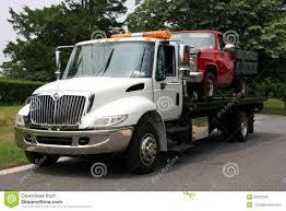 Flat Bed Tow Trck With Truck Stock Photo - Image Of Emergency, Park ...