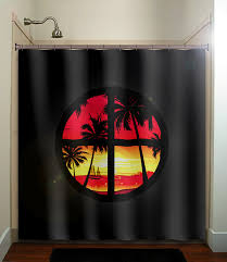 Tropical Window Art Curtains by Tropical Paradise Window Sunset Palm Trees Shower Curtain