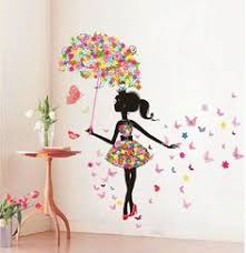 Butterfly Girl Removable Wall Art Sticker Vinyl Decal DIY Room Home Mural Decor In