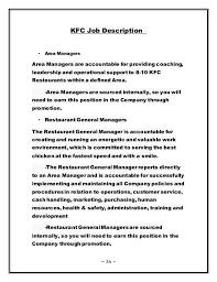 Subway Job Description Obetut Human Resource Management Of Kfc