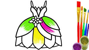 Princess Dress Coloring Pages Drawing Videos For Children To Learn Colors