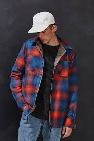 the north face fort point flannel shirt jacket in blue for men lyst