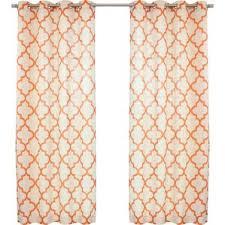 Moroccan Tile Curtain Panels by Linen Orange Curtains U0026 Drapes You U0027ll Love Wayfair