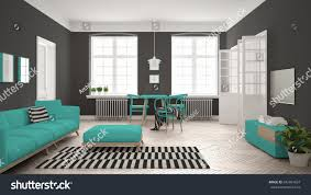 Grey White And Turquoise Living Room by Bright Minimalist Living Room Sofa Dining Stock Illustration