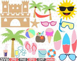 Summer Beach SVG Sun Clipart Sand Castle Surfboard Palm Tree Sea Ice Cream 687s