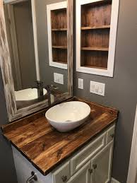 Diy Rustic Wood Countertop And Vessel Sink. Bathroom Makeover ... From A Floating Vanity To Vessel Sink Your Ideas Guide Stylish And Diverse Bathroom Sinks Oil Dectable Small Mounting Cabinet Led Gorgeous For Elegant Vanities Sets Design White Mini Lowes 12 Inch Wide 13 Valve 16 Guest With Amazing Tiles In Walk Shower And Cabinets Large Unit Wooden Designs Homebase Grey Corner Modern Exotic Pictures Of Bowl Glass Inspiring Diy Netbul Beautiful 47 High End Bathroom Vessel Sinks Made By