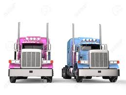 100 Toy Big Trucks Pink And Blue Modern Semi Trailer Side By Side Stock