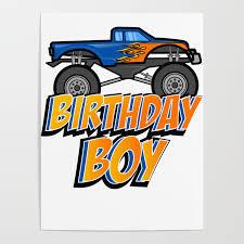 100 Kids Monster Trucks Birthday Boy Truck Crushing Design Gift Poster By Nik007