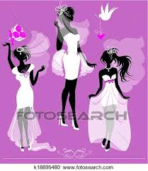 Clipart Set of girls silhouettes dressing Wedding gown shoes and bridal veil on purple