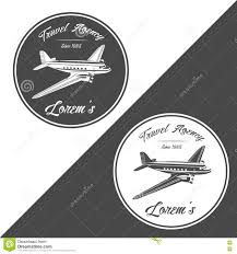 Travel Agency Logo Old Retro Vintage Piston Engine Airplane Vector Illustration
