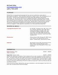 Sharepoint Developer Resume Fresh Sql Sample Colesecolossus