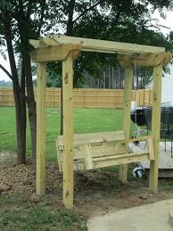 Pergola Swing Plans Astonishing Design Birch Polished Finish Wooden Posts Crossbeams Rafters Metal Chains Bench Hangers Feature Decoration