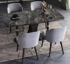 casa padrino luxury deco dining room set gray black brass 1 dining room table with glass top in marble look 4 dining chairs deco