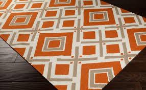 area rugs awesome orange shag area rug burnt and white trellis
