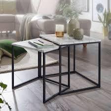 wohnling design beistelltisch 2er set marmor optik weiß couchtisch 2 teilig tischgestell schwarz kleine wohnzimmertische moderne satztische