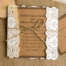 Classic Rustic Lace Square Wedding Invitations EWLS009
