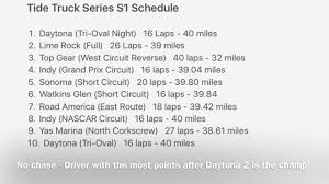 Tide Truck Series S1 Schedule!! - YouTube 2017 Nascar Truck Series Schedule Mpo Group Stadium Super Race 2 Hlights Youtube Best In The Desert Offroad Mencs Nxs Ncwts Full Weekend Track Map Full Weekend Schedule Nscs Dover Intertional Kentucky Speedway Nascar The Strip At Lvms To Host Two 2019 Nhra Mello Yello Drag Racing Tms Adds Stadium Super Trucks To Race Texas Motor News Latest Headlines Upcoming Races And Events Southern National Motsports Park 2018 Lucas Oil In Association With Wub