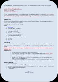 Tcs Resume Format For Freshers Computer Engineers by It Fresher Resume Format Resume For Freshers 20 Resume