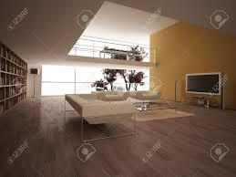 moderne große wohnzimmer mit holzfußboden bücherregale und andere wenige elemente minimalist