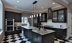 Modern Farmhouse Kitchen Transitional With Checkered Floor Black And White