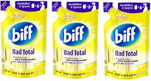 biff bad total zitrus badreiniger bad reiniger badezimmer 3x250 ml nachfüllpack