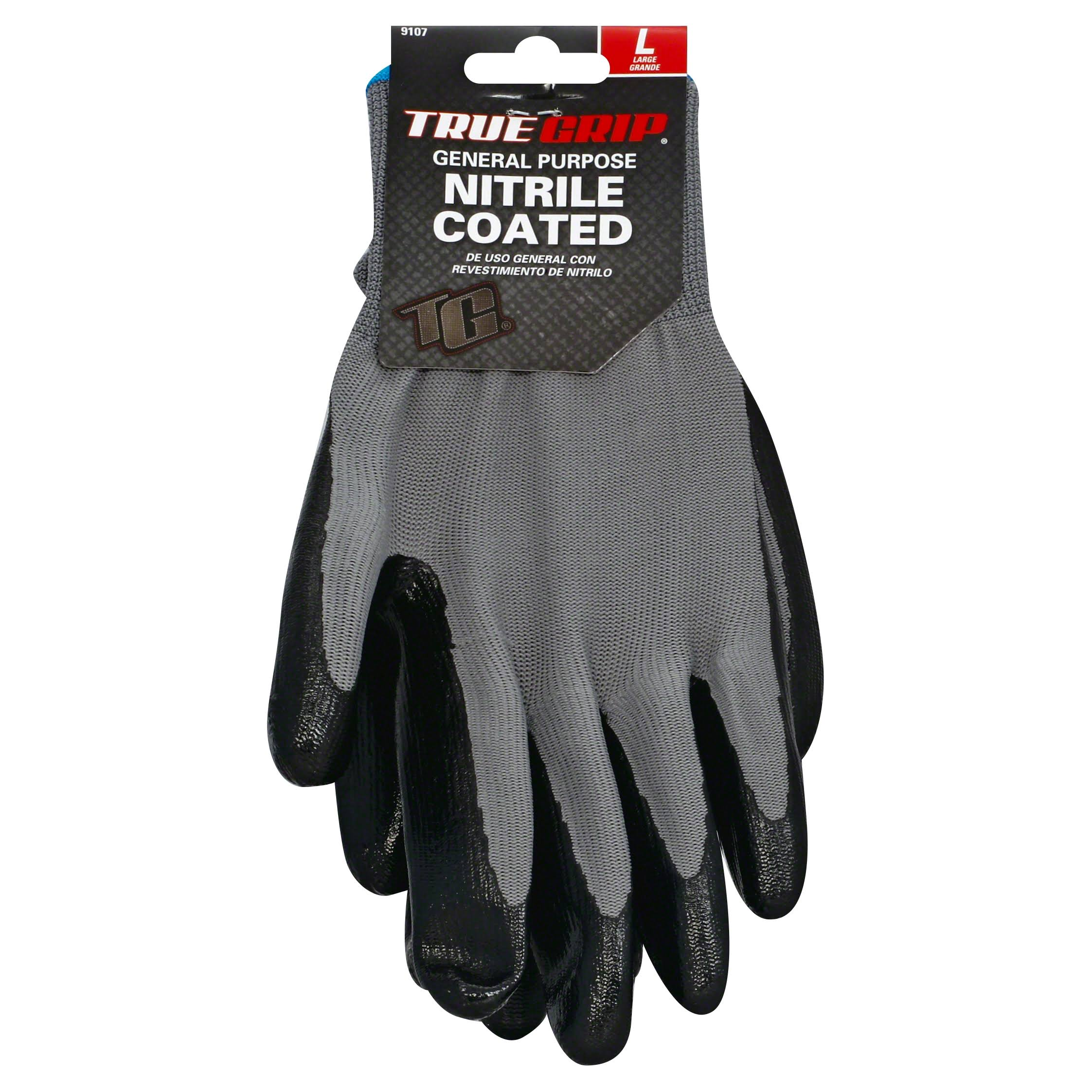 True Grip General Purpose Gloves - Nitrile Coated, Large