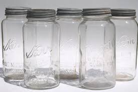 Big Two Quart Size Glass Mason Jars Vintage Canning Jar Kitchen Canisters