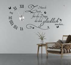 details zu wanduhr wandtattoo uhr wohnzimmer wandsticker wandaufkleber spruch uhrwerk tku5