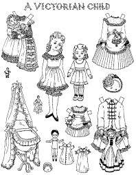 Victorian Child Doll Dress Colouring Page