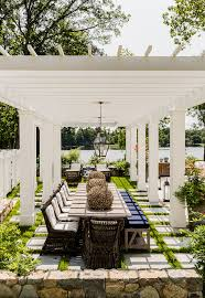 Dining Al Fresco Pergola White Backyard With WhitePergola