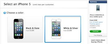 iPhone 5 US online Apple Store shipping times