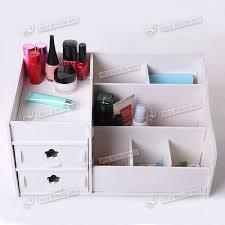 new make up storage wooden desk organiser acrylic drawers white