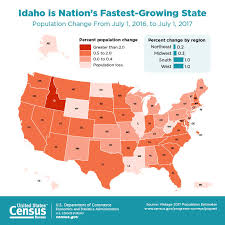 us censu bureau idaho the fastest growing state according to u s census bureau