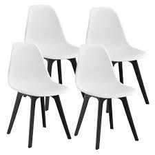 en casa 4x design stühle 83 x 54 x 48cm weiß schwarz esszimmer stuhl stühle kunststoff skandinavisch mit bodenschoner