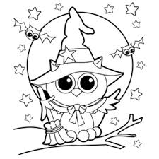 Free Printable Halloween Witch Coloring Page Owl