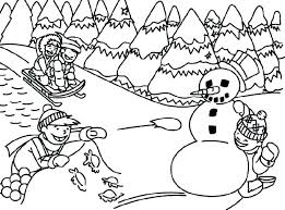 Winter Colouring Pages Coloring For Holidays Printable Kids Playing In Sheets Free Preschool