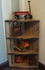 Corner Crate Shelf Rustic Grey Wooden