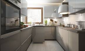 u form küchenzeile brerra einbauküche 270x236x230cm lava front signalweiß quarzgrau hochglanz