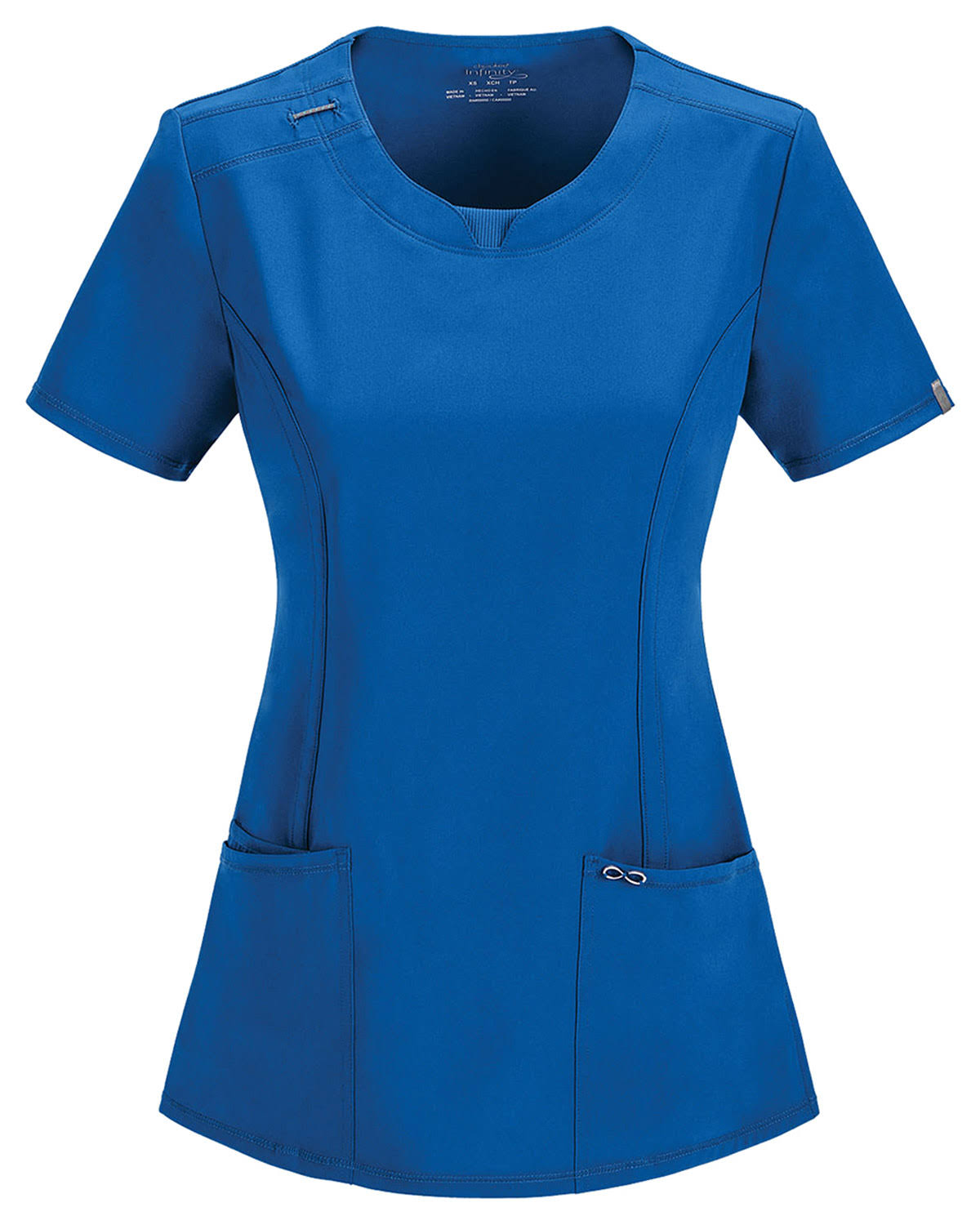 Cherokee Women's Infinity Split Round Neck Solid Scrub Top - Royal, XX-Large