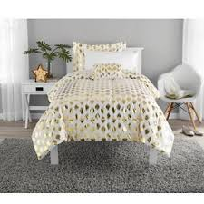 Metallic Gold White Ikat Dot forter and Sheet Set 7 pieces