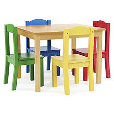 Tot Tutors Kids Wood Table And 4 Chairs Set Natural Primary Collection