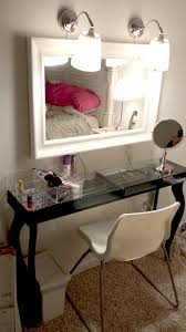 Makeup Vanity Table With Lighted Mirror Ikea by My Version Of The Vanity Made From Ikea Hacks Hemnes Mirror