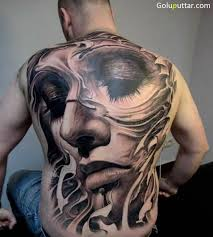 Cool Back Cover Up With Outstanding Angel Face Tattoo