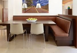 Large Rectangle Wooden Dining Table With Chocolate Leather Seat Corner Nook Set For Room