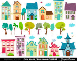 Houses Clip Art Set houses clipart cute houses neighborhood trees church bakery buildings school instant