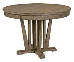 Rustic Round Weathered Gray Dining Table With Extension Leaf