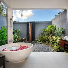 L Shaped Bathroom Vanity Unit by Bathroom Exotic Outdoor Tropical Bathroom With Shower Tropical