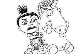 Agnes And Unicorn Despicable Me Easy Coloring Pages