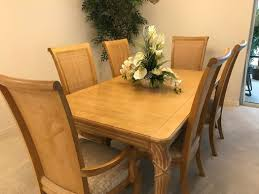 Lovely Pecan Dining Room Set Includes Large Table Approximately 62 X 38 Center Expansion Leaf 18 And 6 High Back Chairs With Soft Neutral